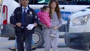 2 yaşındaki kızıyla polise sığındı