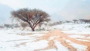 Çöle yağan kar şaşırttı