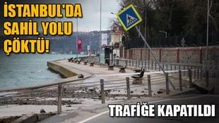 İstanbulda sahil yolu çöktü! Araç trafiğine kapatıldı