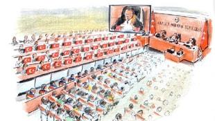 Mahkeme salonuna 34 şehidi temsilen 34 Türk bayrağı getirildi