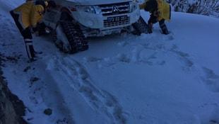 Köyde rahatsızlanan hastanın imdadına paletli ambulans yetişti