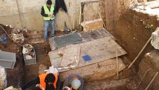 Milas'ta inşaat alanında yapılan kazı çalışması