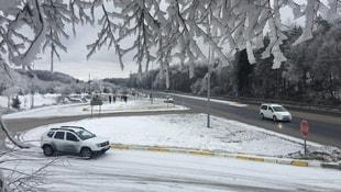 Beklenen kar yağışı Bolu Dağında başladı