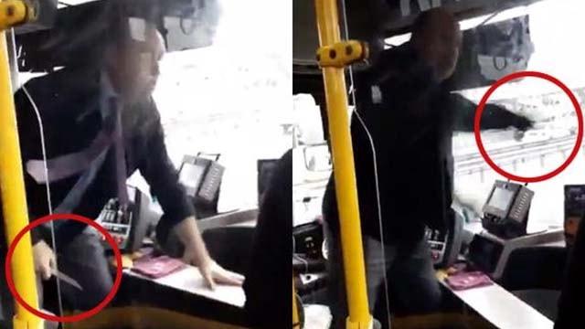 Otobüste dehşet! Şoför yolculara bıçak çekti
